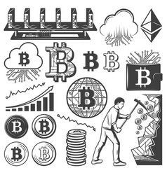Vintage bitcoin currency elements collection vector