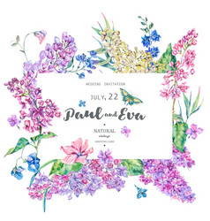 vintage floral greeting card with pink vector image
