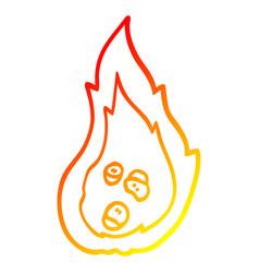 Warm gradient line drawing cartoon burning coals vector