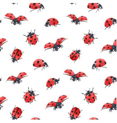 Watercolor ladybug seamless pattern vector
