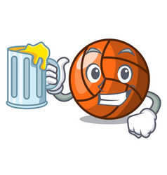 with juice volleyball mascot cartoon style vector image