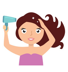 Woman drying hair with blowdryer fresh and clean vector