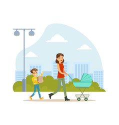 woman walking with stroller on cityscape vector image