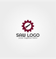 Wood saw logo template with gear logo vector