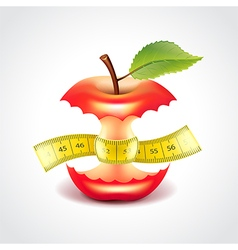 Apple stub with measuring tape vector image vector image