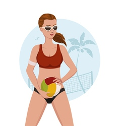 beach volley girl vector image vector image