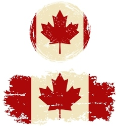 Canadian round and square grunge flags vector image vector image