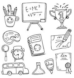 Doodle hand draw school education vector image vector image