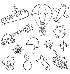 hand-drawn doodles on the war themes vector image