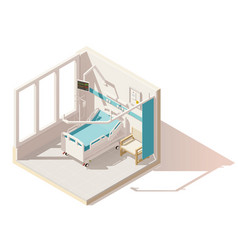 isometric low poly hospital ward vector image