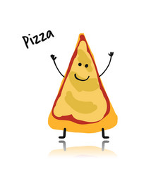 pizza slice character sketch for your design vector image