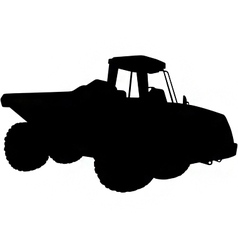 articulated dumper truck silhouette vector image vector image