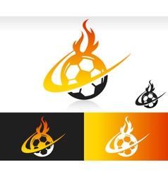 Fire Swoosh Soccer Logo Icon vector image vector image