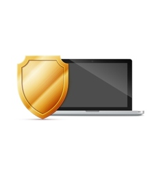 laptop with shield - internet security antivirus vector image