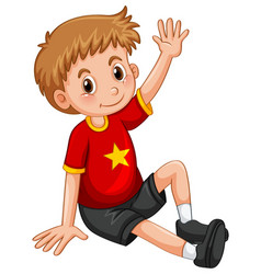 little boy waving hand hello vector image vector image
