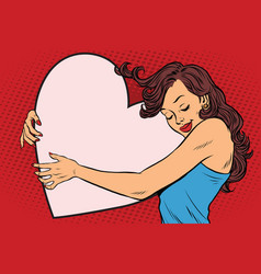 beautiful young woman hugging valentine heart vector image vector image