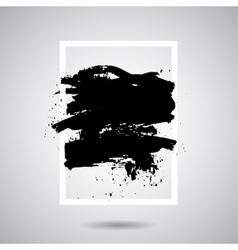 Black grunge splash in white frame modern vector