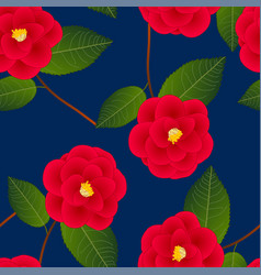 red camellia flower on indigo blue background vector image vector image