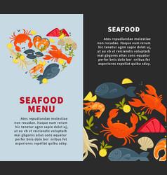 seafood fresh fish menu web site store vector image