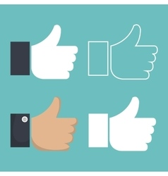 set icon hands thumbs up design vector image
