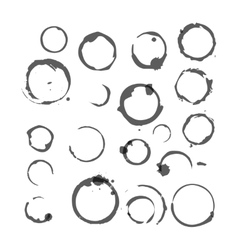 Set of black silhouette wine stain circles vector