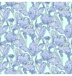 Vintage pattern with field of iris flowers vector image