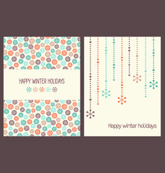 christmas greeting cards with snowflakes vector image vector image