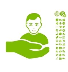 Customer support hand icon with free bonus vector