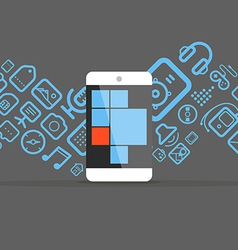 Different icons flows into modern smartphone vector image vector image