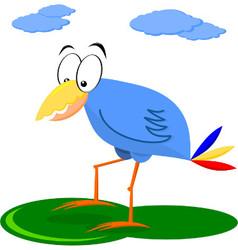 Funny Blue Cartoon Bird vector image