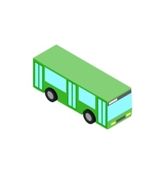 Green bus icon isometric 3d style vector image
