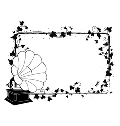 ivy frame with gramophone vector image vector image