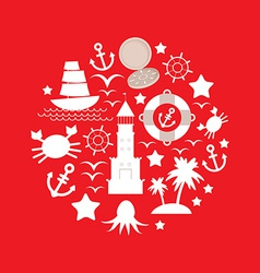 Set sea icon on red background vector image vector image