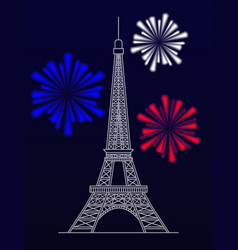 silhouette of the eiffel tower and fireworks vector image vector image