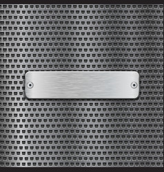 stainless steel brushed plate on metal perforated vector image vector image