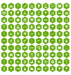 100 childrens playground icons hexagon green vector