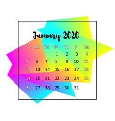2020 calendar design abstract concept january vector image