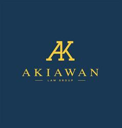 A k letter logo lettermark ak monogram typeface vector