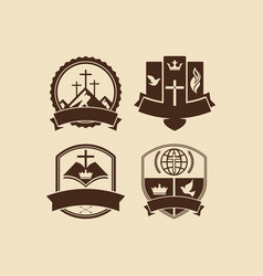A set of christian and biblical logos vector
