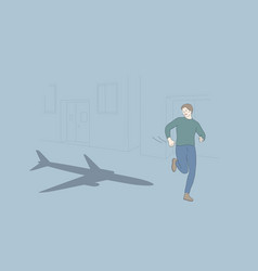 Aerophobia and psychological problem concep vector