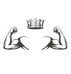 Arm bicep strong hand and crown icon cartoon vector
