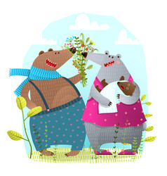 bear family with newborn bapresenting flowers vector image