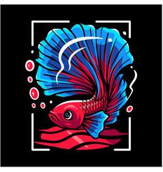 Betta fish mascot logo design vector