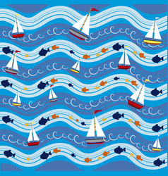 Boats in the sea pattern background vector
