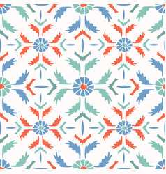bright folk art daisy quilt all over print vector image