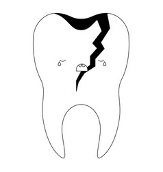 Broken kawaii tooth with root in black silhouette vector