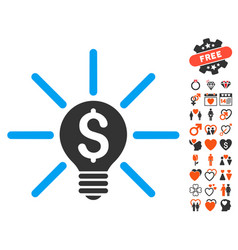Business idea bulb icon with lovely bonus vector