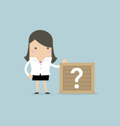 businesswoman standing beside unknown box vector image