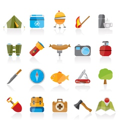 Camping travel and Tourism icons vector