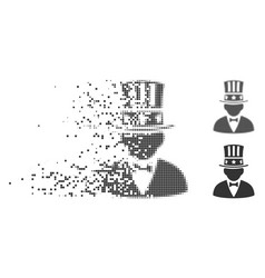 Capitalist destructed pixel halftone icon vector